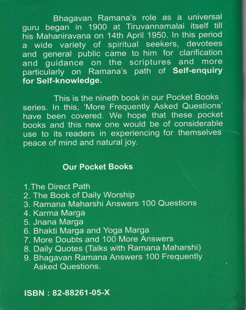 Bhagavan Ramana Answers 100 FAQ Backcover
