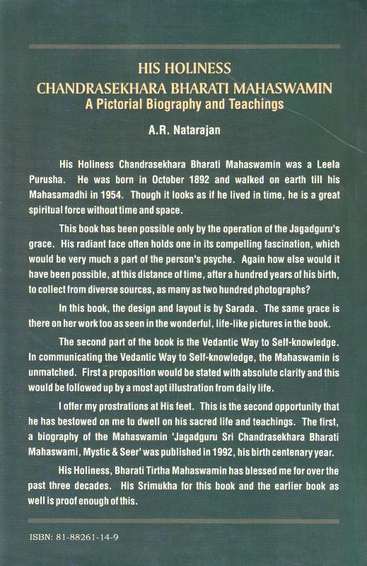 His Holiness Chandrashekara Bharathi Back Cover