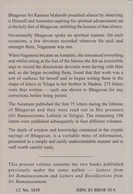 Letters from Sri Ramanasramam-Back Cover
