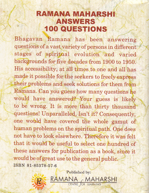 Ramana Maharshi answers 100 questions-Back Cover