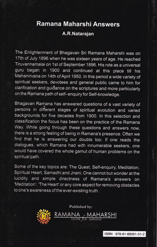 Ramana Maharshi Answers Backcover